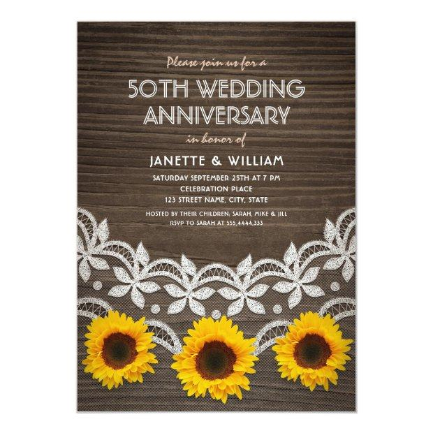 50th Wedding Anniversary Rustic Sunflowers Lace