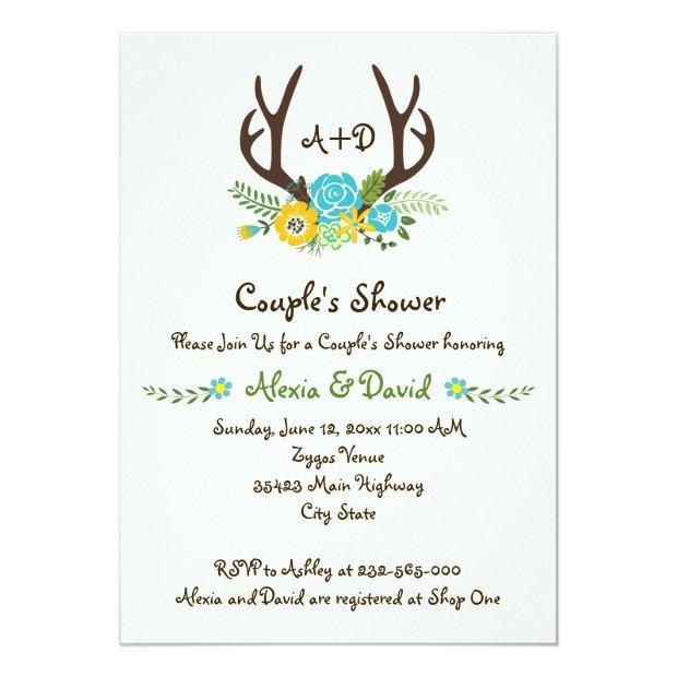 Antlers & Flowers Monogram Wedding Couples Shower Invitation