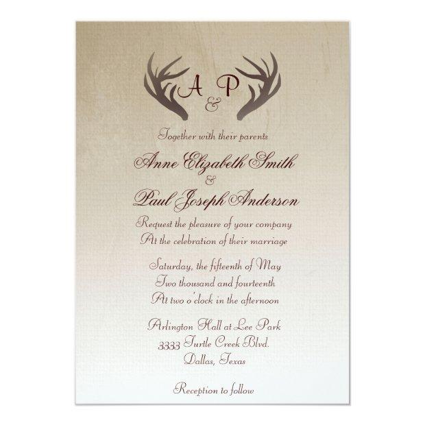 Antlers Rustic Wedding Invitations Brown Ombre