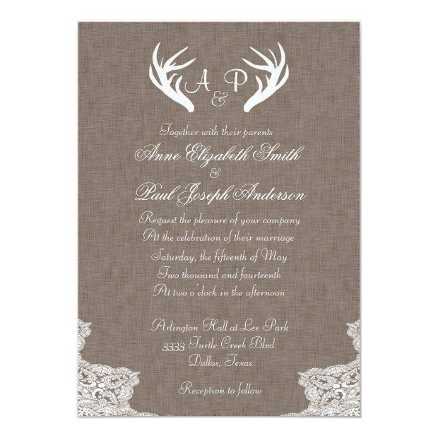 Antlers Rustic Wedding Invitations Fabric And Lace