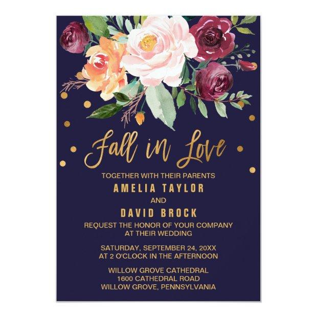 Autumn Floral | Fall In Love Wedding Invitationss