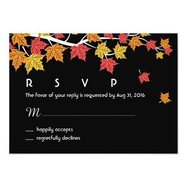 Autumn Wedding Rsvp Invitationss With Maple Leaves Falling