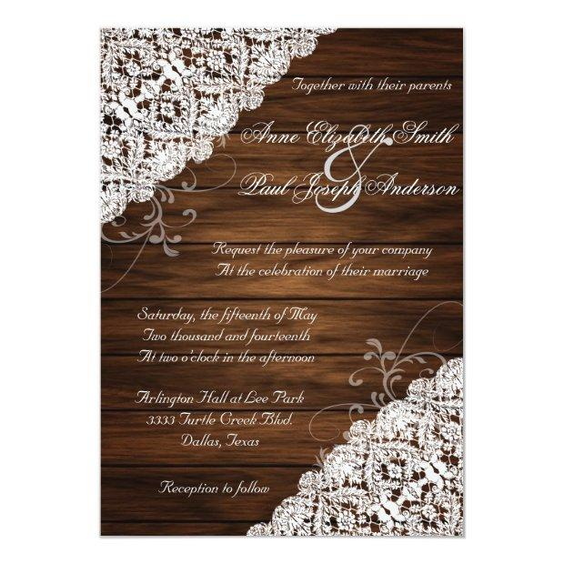 Barn Wood And Lace Rustic Wedding Invitationss