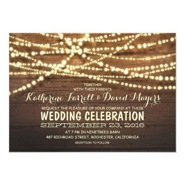 Barn Wood String Lights Rustic Wedding
