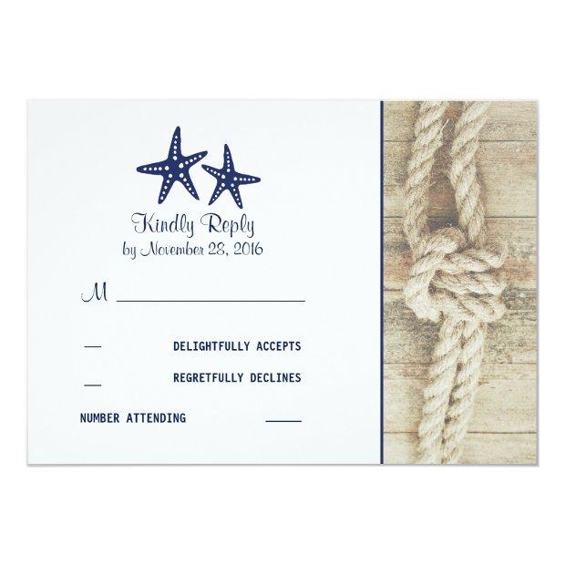 Beach Driftwood Rustic Nautical Wedding Rsvp
