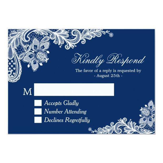 Beautiful Navy Blue Lace Wedding Rsvp Reply Invitation