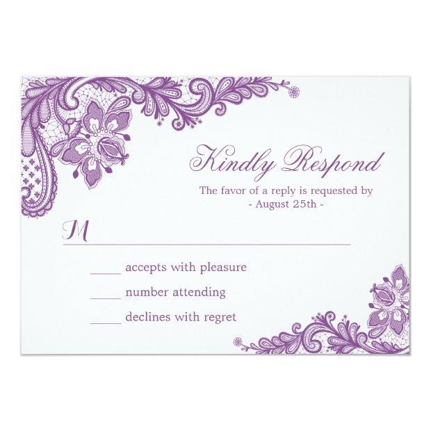 Beautiful Purple Lavender Lace Wedding Rsvp Invitationss