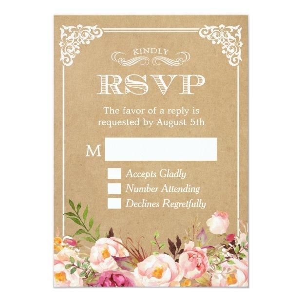 Beautiful Rustic Floral Kraft Elegant Wedding Rsvp