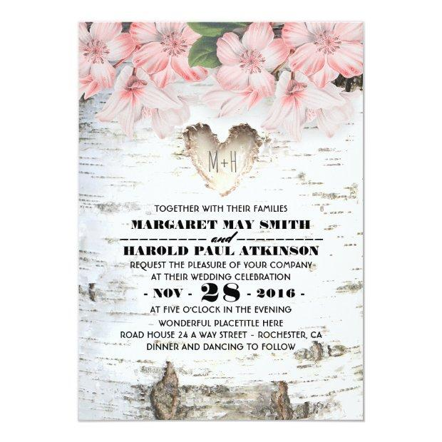 Birch Tree Bark Heart Rustic Country Wedding Invitationss