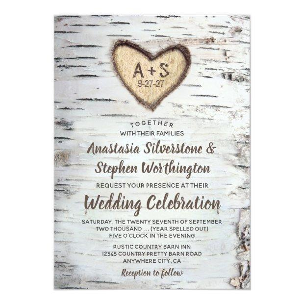 Birch Tree Bark Rustic Country Wedding Invitationss