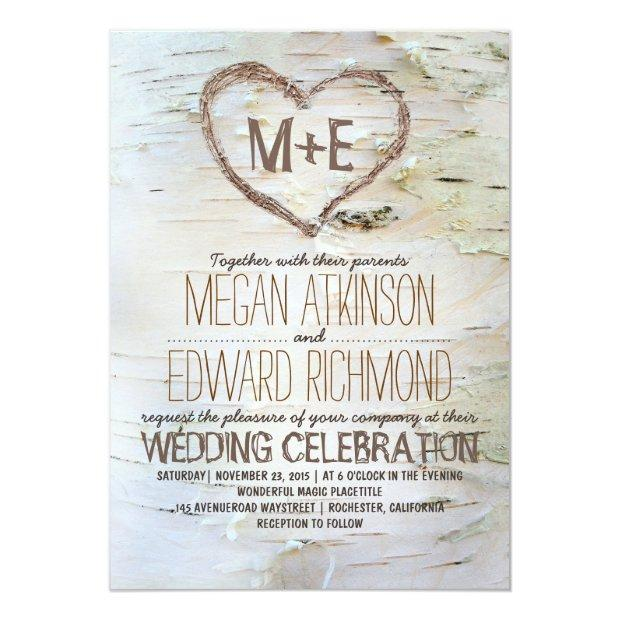 Birch Tree Heart Rustic Wedding