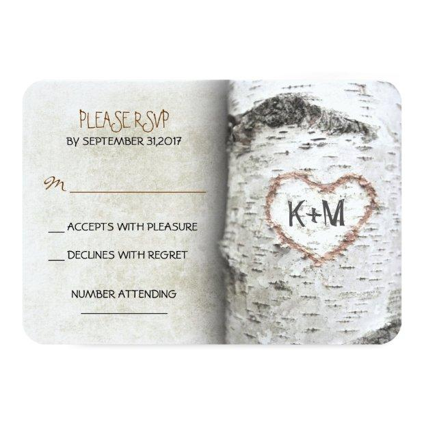 Birch Tree Rustic Wedding Rsvp Invitationss