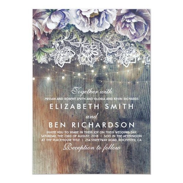 Blue Purple And Plum Vintage Floral Lace Wedding Invitationss