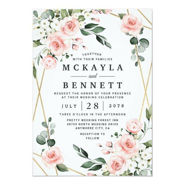 Blush Pink Gold And White Floral Greenery Wedding Invitation