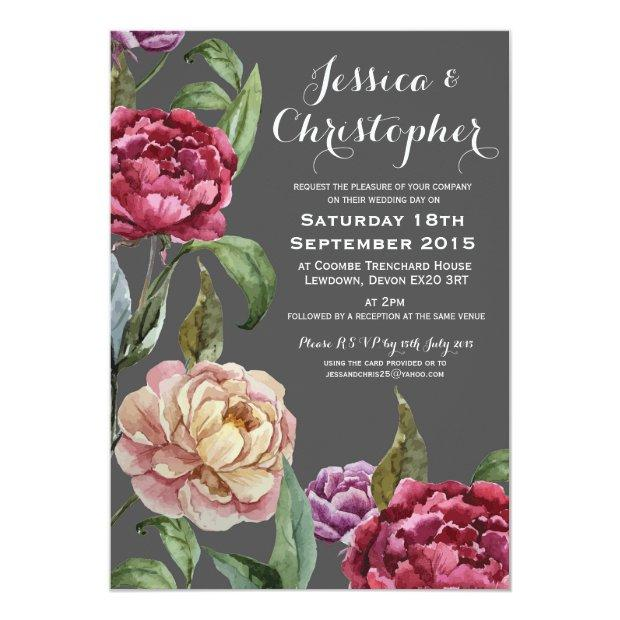 Bohemian Dark Floral Custom Wedding Invitation
