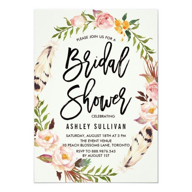 Bohemian Feathers And Floral Wreath Bridal Shower Invitationss