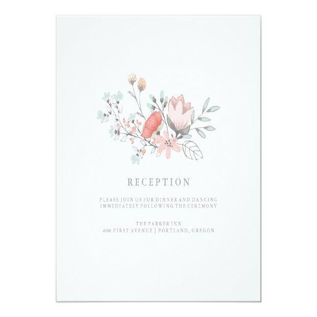 Boho Botanical Rustic Reception In Coral And Gray Invitation