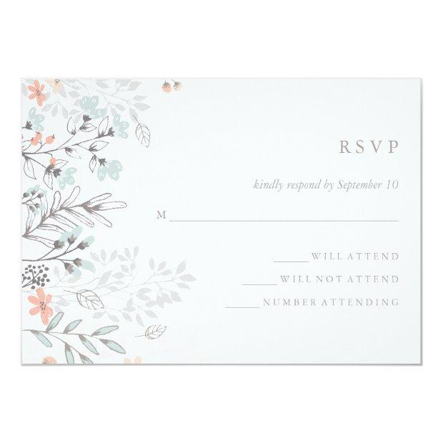 Boho Botanical Rustic Wedding Coral And Gray Rsvp Invitationss