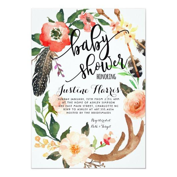 Boho Feathers Baby Shower Invitation