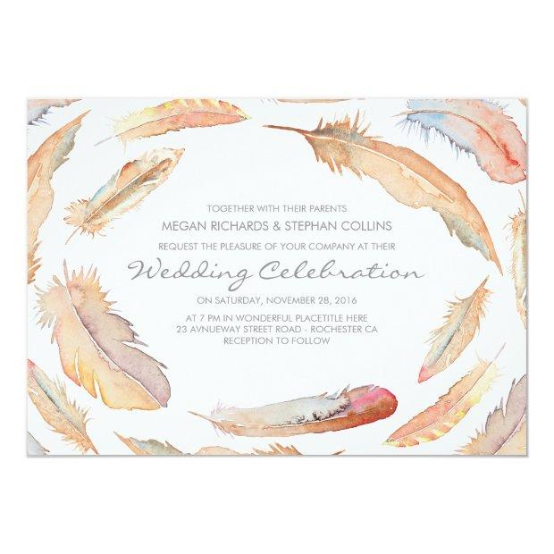 Boho Watercolor Feathers Tribal And Wild Wedding Invitationss