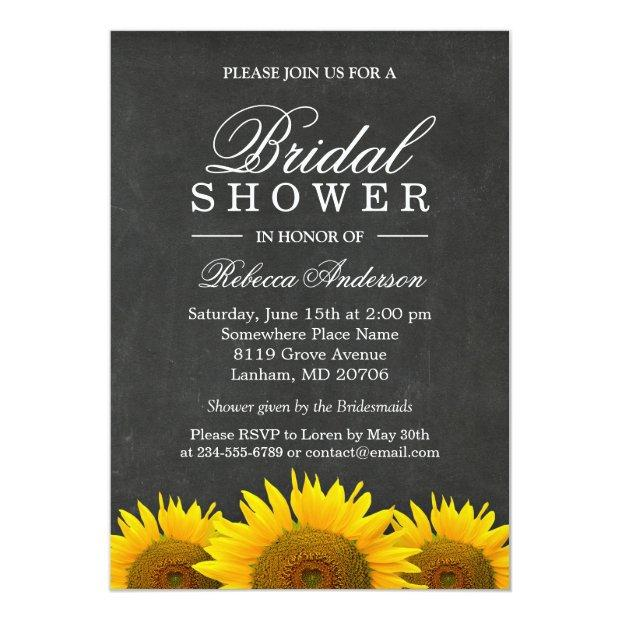 Bridal Shower Rustic Sunflower Black Chalkboard Invitationss