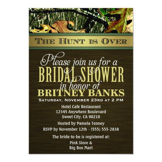 Brown Hunting Camo Bridal Shower Invitationss