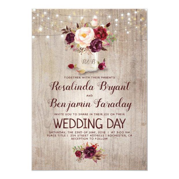 Burgundy Floral Mason Jar Rustic Wedding