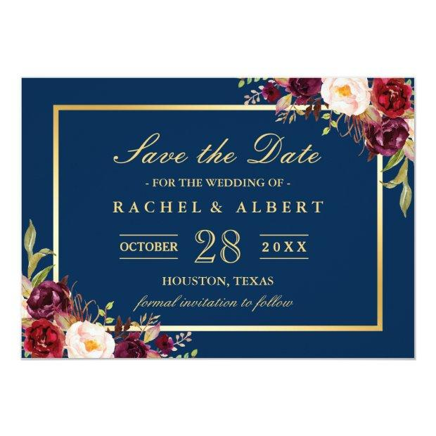 Burgundy Marsala Floral Blue Wedding Save The Date