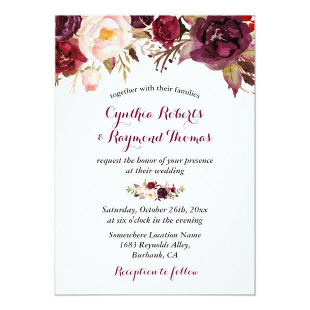 Burgundy Red Marsala Floral Chic Fall Wedding