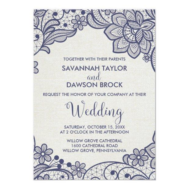 Burlap And Navy Lace | Floral Wedding Invitationss