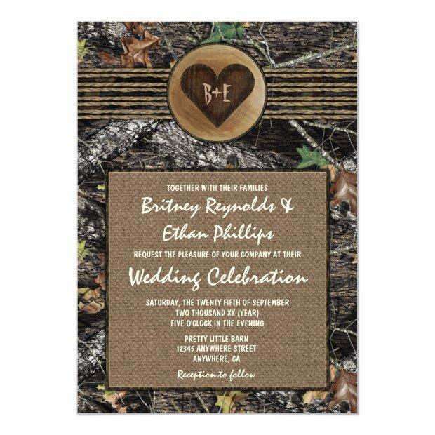 Burlap  Carved Heart Camo Wedding Invitation