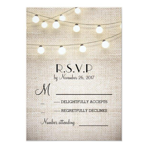 Burlap Lights Rustic Elegant Wedding Rsvp