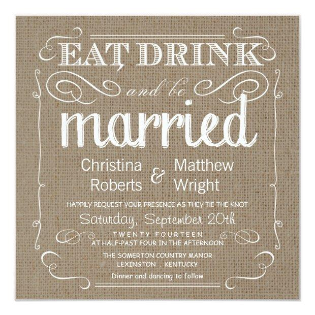Burlap Rustic Vintage Wedding Invitation
