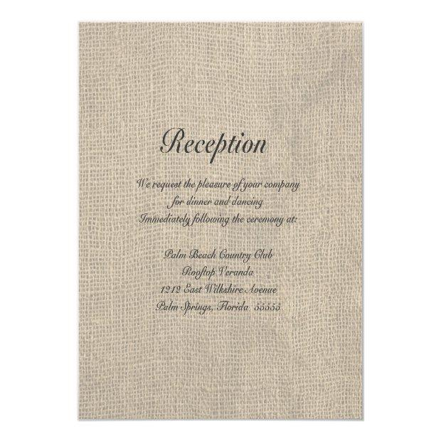Burlap Rustic Wedding Reception Directions