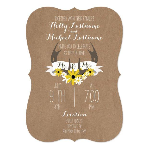 Invitationssboard Inspired Antlers  Wildflowers Wedding Invitationss