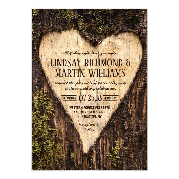 Carved Heart Country Rustic Tree Wedding