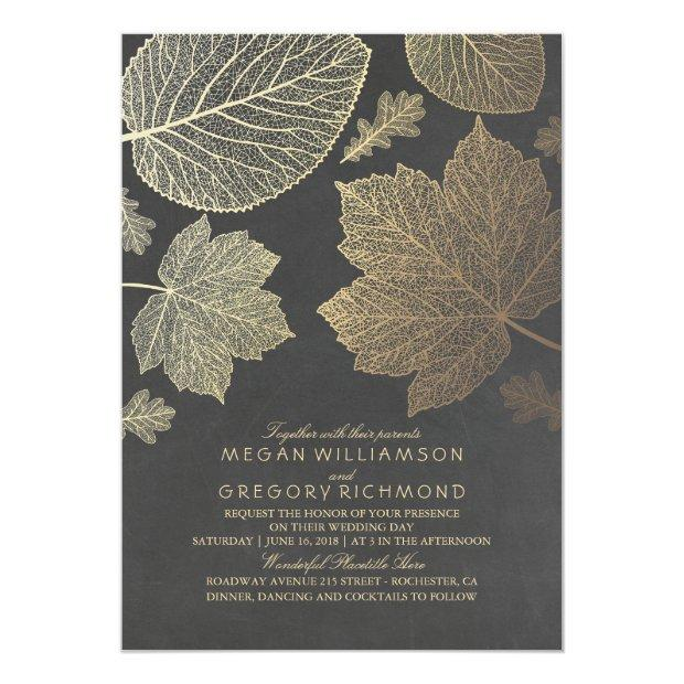 Chalkboard And Gold Leaves Vintage Fall Wedding Invitationss