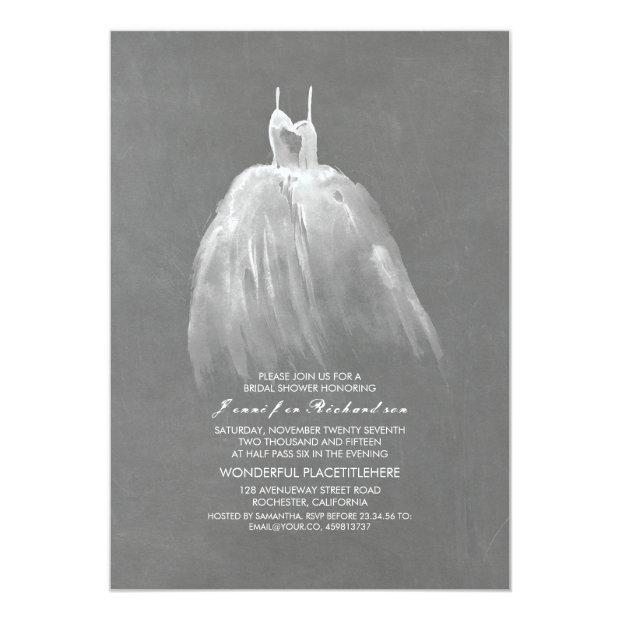 Chalkboard Bridal Shower Elegant Wedding Gown Invitationss