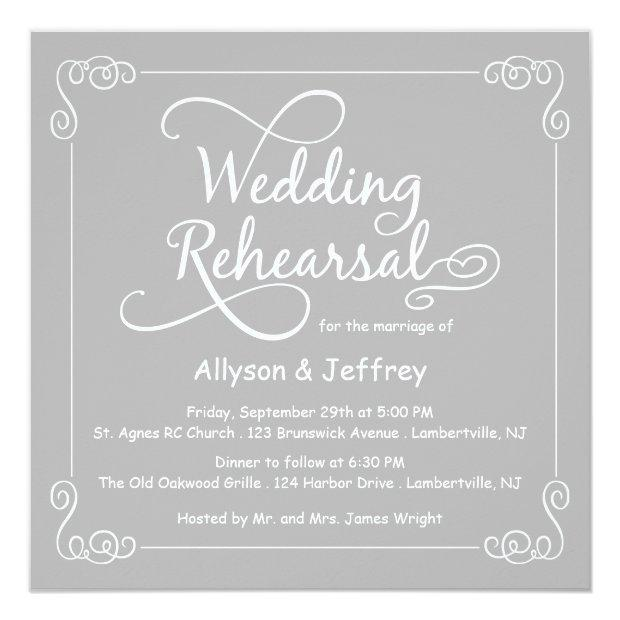 Chalkboard Gray Wedding Rehearsal