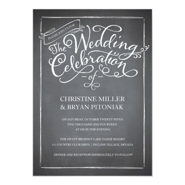 Chalkboard Script White Wedding Invitations