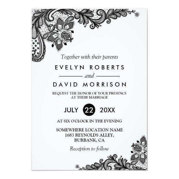 Classy Black White Lace Pattern Formal Wedding Invitationss