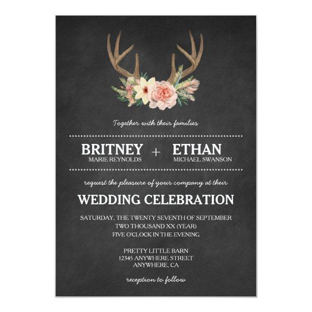 Country Chalkboard Deer Antler Wedding Invitation