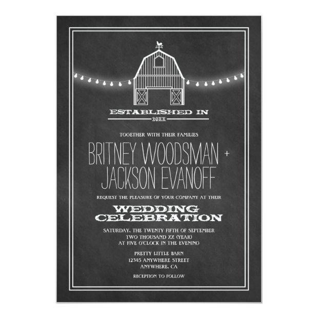 Country Rustic Chalkboard Barn Wedding Invitationss