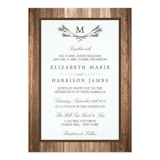 Country Rustic Monogram Branch & Wood Wedding Invitationss