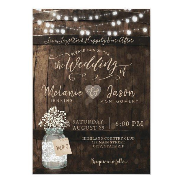 Country Rustic Wood Barrel Wedding Invitation