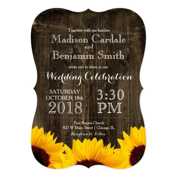Country Sunflowers Rustic Wood Wedding Invitationss