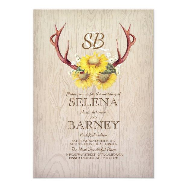 Deer Antlers And Sunflowers Floral Rustic Wedding Invitationss