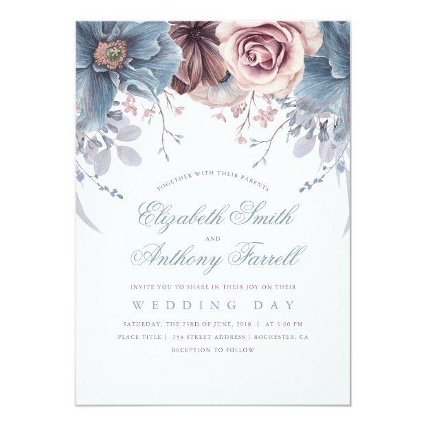 Dusty Blue And Mauve Floral Watercolor Wedding