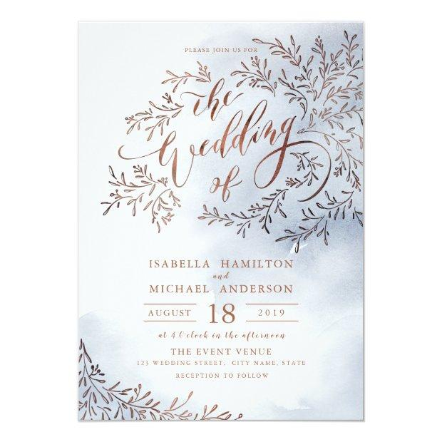 Dusty Blue Calligraphy Rustic Floral Wedding Invitationss