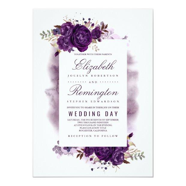 Eggplant Purple Floral Elegant Watercolor Wedding Invitationss